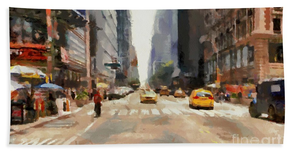Streets Of New York Bath Towel featuring the painting Streets Of New York by Sergey Lukashin
