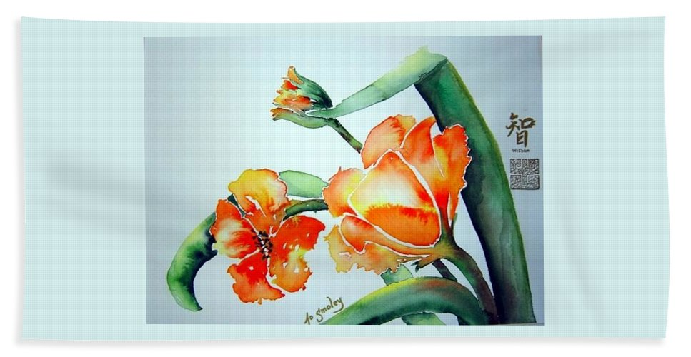 Tulips Or Poppies Bath Sheet featuring the painting Stretching In The Spring Sun by Joanne Smoley