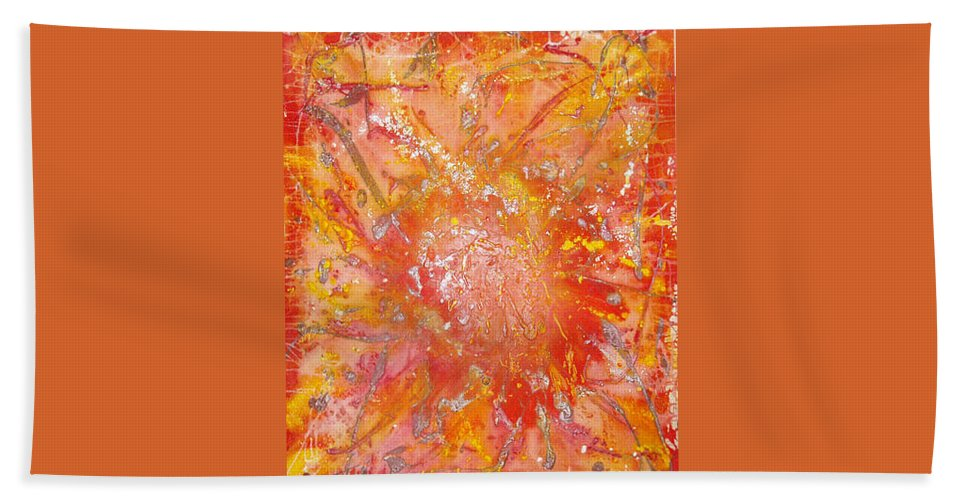 Abstract Hand Towel featuring the painting Fire by Bill Ades