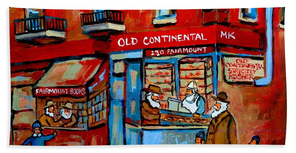 Old Continental On Fairmount Bath Towel featuring the painting Strictly Kosher by Carole Spandau