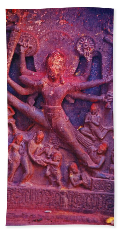 Vishnu Hand Towel featuring the photograph Striding Vishnu by Omar Shafey