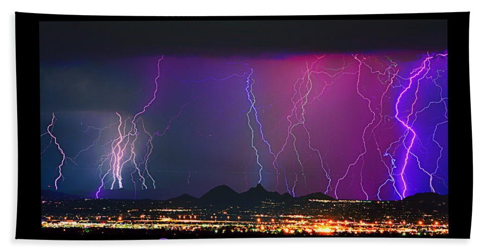 Lightning Hand Towel featuring the photograph Striking Photography by James BO Insogna