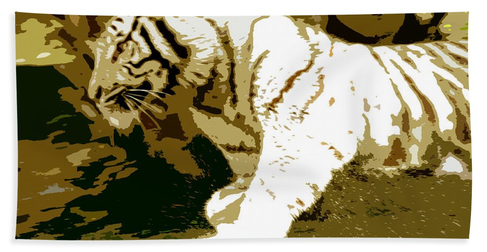 Tiger Hand Towel featuring the painting Striking Tiger by David Lee Thompson