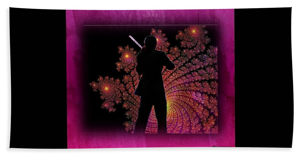 Violinist Hand Towel featuring the digital art String Sonata by Ellen Cannon
