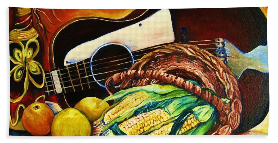 Country Life Bath Towel featuring the painting Strings Attached by Carole Spandau