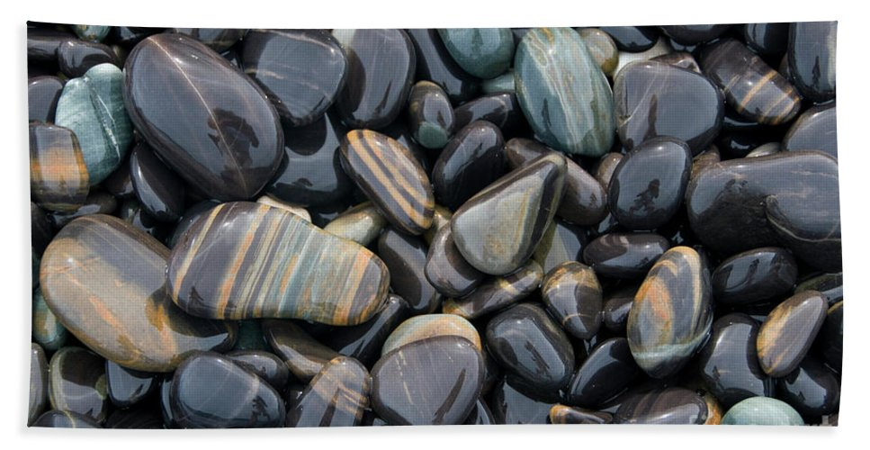 Smooth Bath Sheet featuring the photograph Striped Pebbles by American School