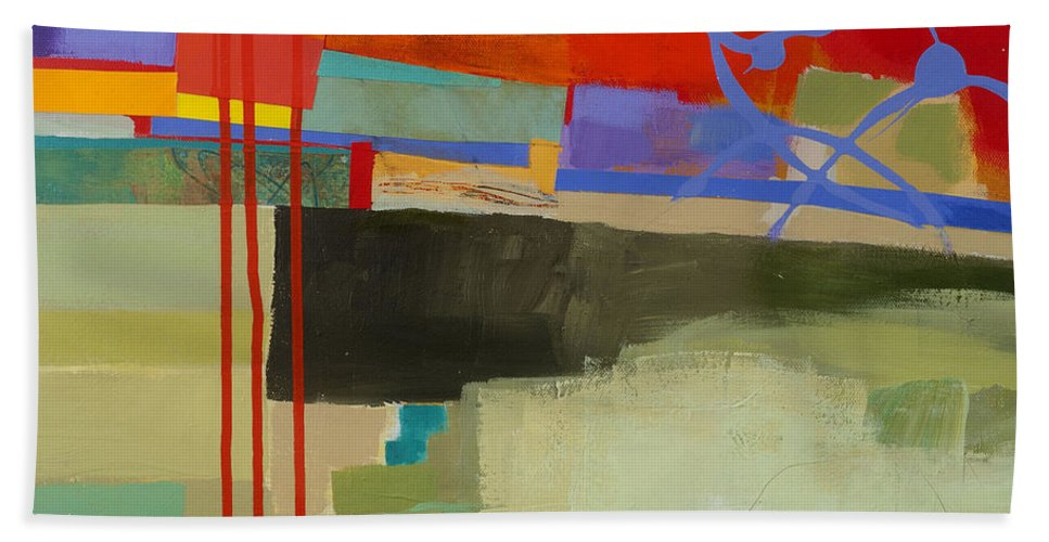 Abstract Art Hand Towel featuring the painting Stripes And Dips 2 by Jane Davies