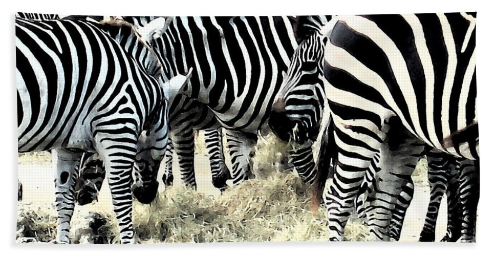 Zebra Bath Sheet featuring the photograph Stripes by Rhonda Chase