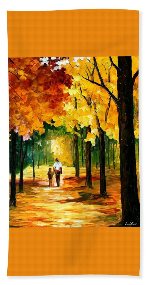Afremov Bath Sheet featuring the painting Stroll In The Forest by Leonid Afremov