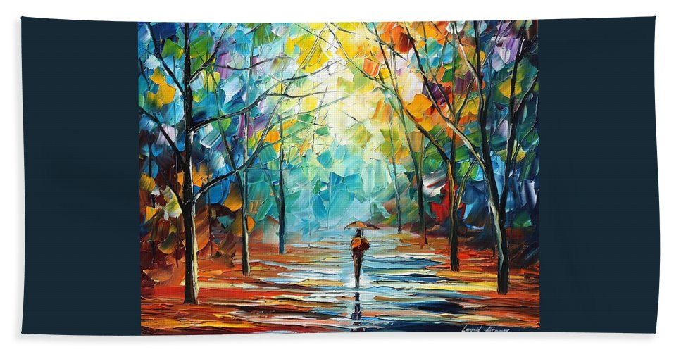 Afremov Hand Towel featuring the painting Stroll by Leonid Afremov