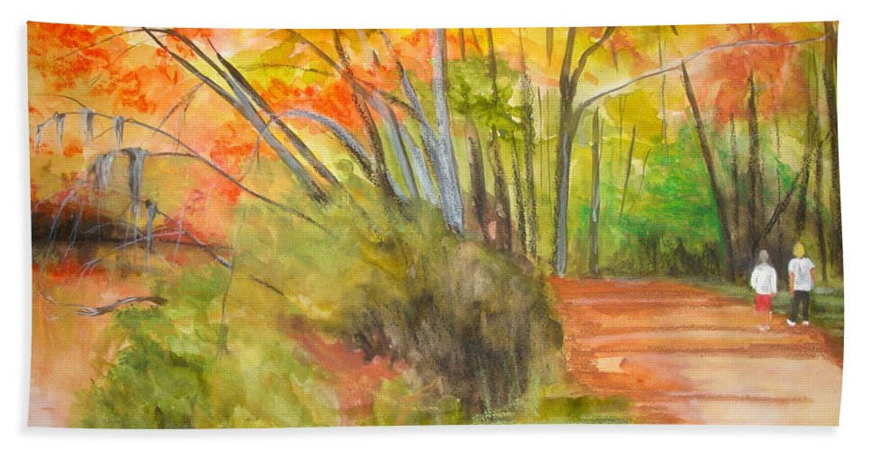Landscape Hand Towel featuring the painting Strolling Along The Canal by Jean Blackmer