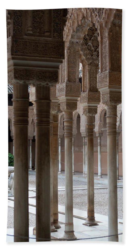 Granada Bath Sheet featuring the photograph Strolling The Courtyard Of The Lions by Lorraine Devon Wilke