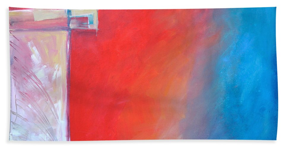 Abstract Bath Towel featuring the painting Structures And Solitude Revisited by Tim Nyberg
