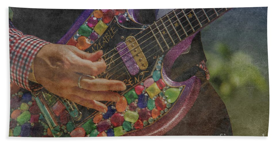 Guitar Bath Sheet featuring the photograph Strumming Away by Pamela Williams