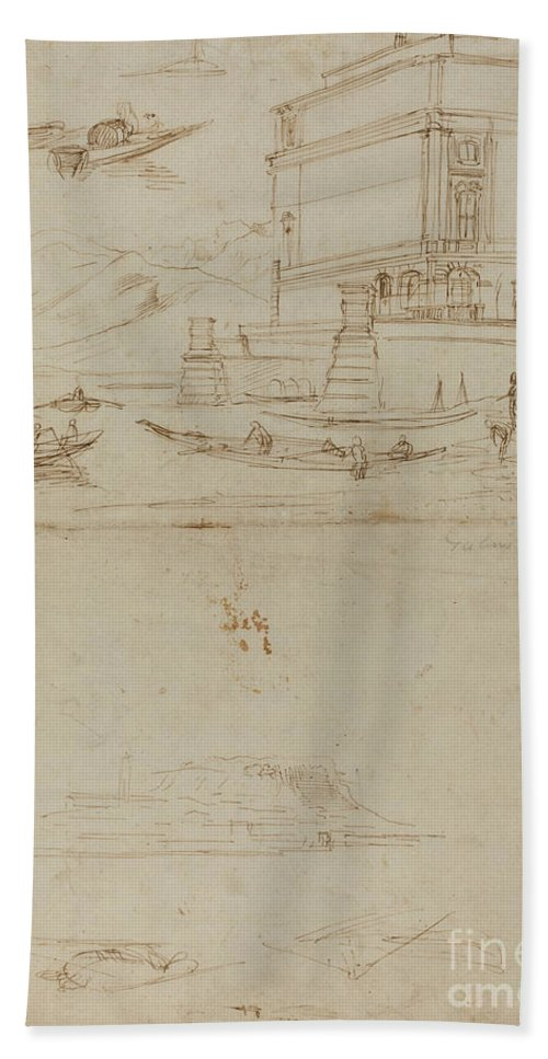 Hand Towel featuring the drawing Studies Of Lago Maggiore And And The Entrance To A Palazzo by Gaspar Van Wittel