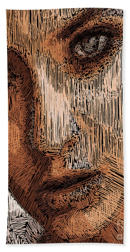 Rafael Salazar Bath Sheet featuring the digital art Studio Portrait In Pencil by Rafael Salazar