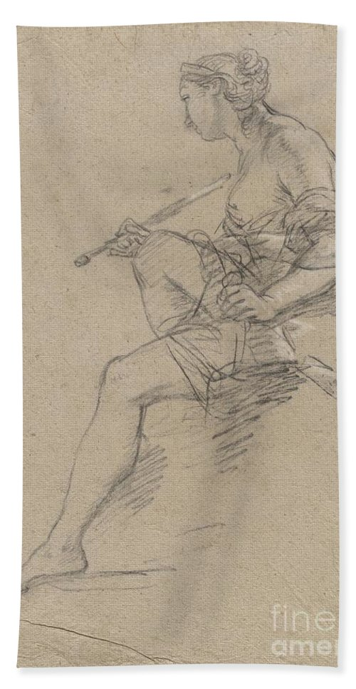 Hand Towel featuring the drawing Study For An Allegory Of Painting by Etienne Parrocel