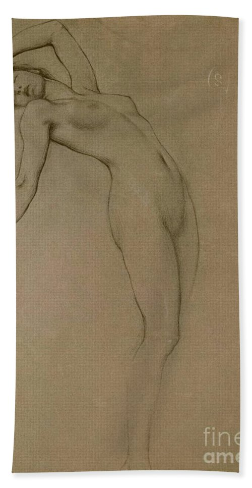 Study Bath Towel featuring the drawing Study For Clyties Of The Mist by Herbert James Draper