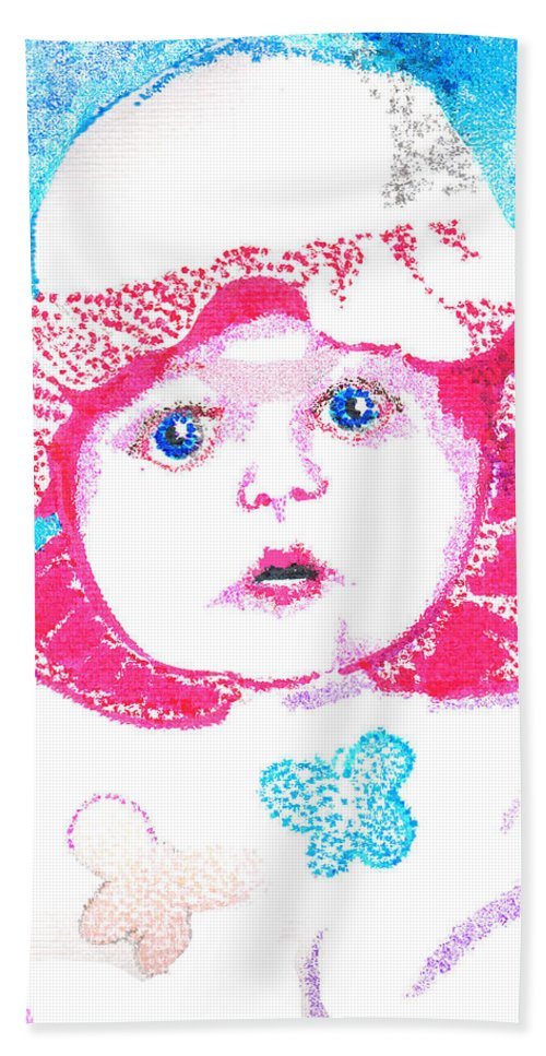 Baby Hand Towel featuring the digital art Study In Blue And Pink by Seth Weaver