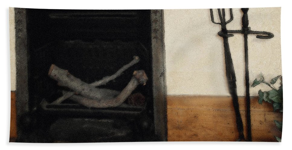 Fireplace Bath Towel featuring the painting Study In Iron, Wood And Stone by RC DeWinter