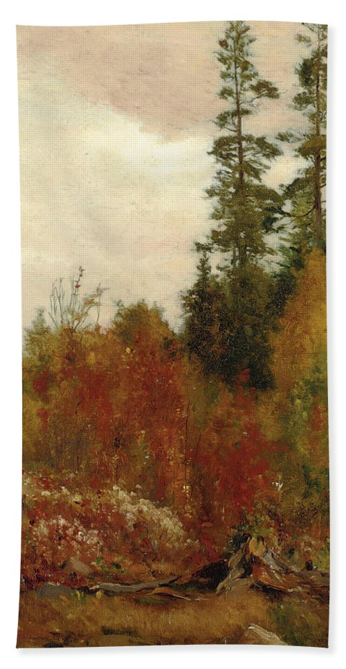 Jervis Mcentee Bath Towel featuring the painting Study Near Schulls by Jervis McEntee