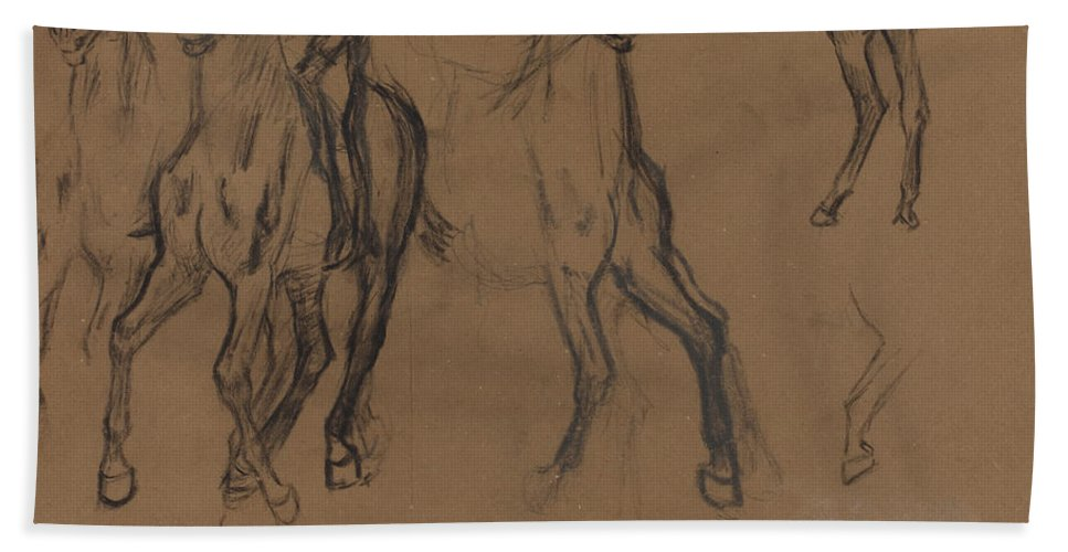 Hand Towel featuring the drawing Study Of Horses by Edgar Degas