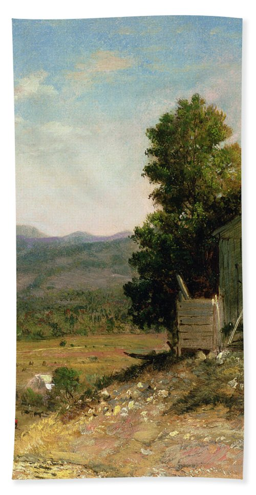 Study Of Old Barn Bath Sheet featuring the painting Study Of Old Barn In New Hampshire by George Loring Brown