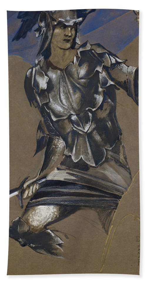 Burne-jones Hand Towel featuring the drawing Study Of Perseus In Armour For The Finding Of Medusa by Edward Burne-Jones