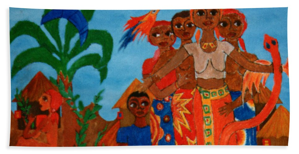 Study Bath Sheet featuring the painting Study To Motherland A Place Of Exile by Madalena Lobao-Tello