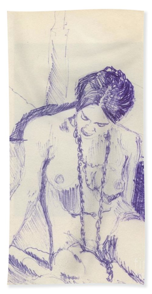 Ink Sketch Bath Towel featuring the drawing Studying For Exams by Ron Bissett