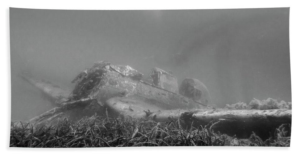 Stuka Bomber Bath Sheet featuring the photograph stuka bomber wreck III by Claudia Weber-Gebert