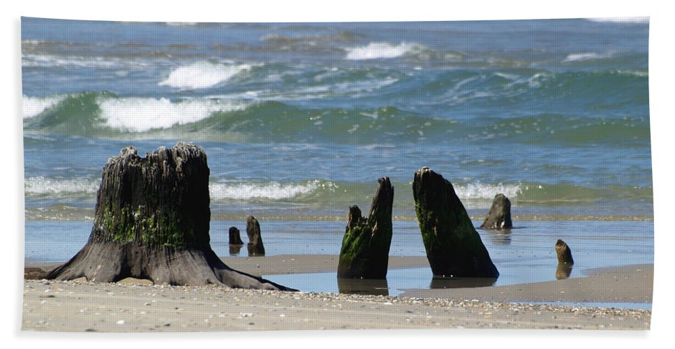 Ann Keisling Hand Towel featuring the photograph Stumpy Beach by Ann Keisling