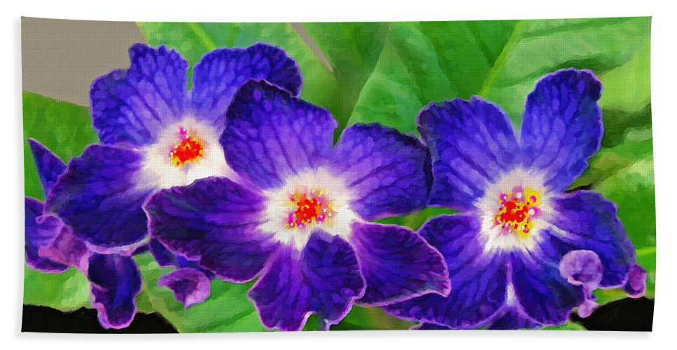 Flowers Bath Sheet featuring the painting Stunning Blue Flowers by Susanna Katherine