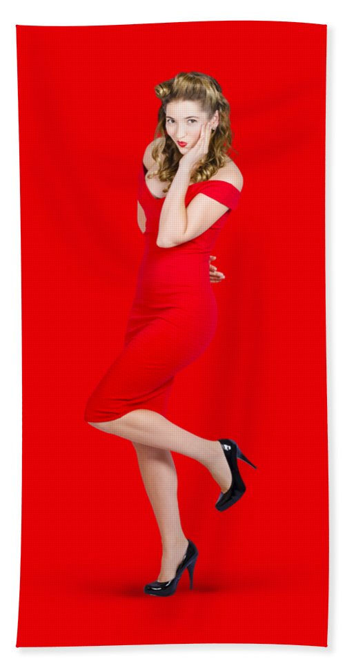 Girl Bath Towel featuring the photograph Stunning Pinup Girl In Red Rockabilly Fashion by Jorgo Photography - Wall Art Gallery