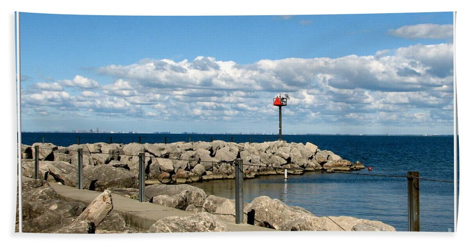 Sturgeon Point Marina Hand Towel featuring the photograph Sturgeon Point Marina On Lake Erie by Rose Santuci-Sofranko