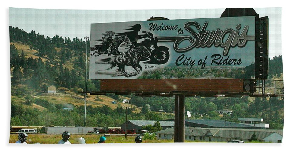 Sturgis Bath Sheet featuring the photograph Sturgis City Of Riders by Anna Ruzsan