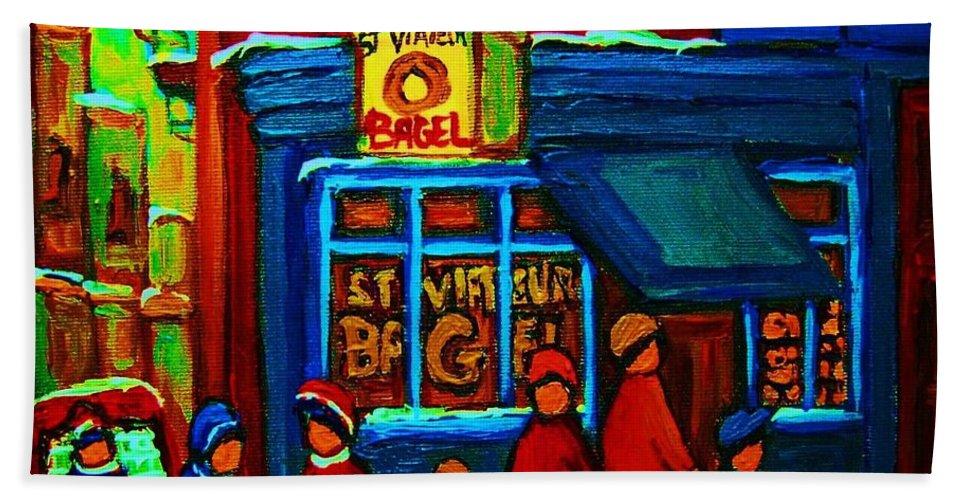 Montreal Bagelshop Hand Towel featuring the painting St.viateur Bagel And Hockey Kids by Carole Spandau