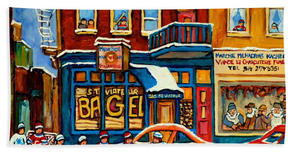 St.viateur Bagel Bath Towel featuring the painting St.viateur Bagel Hockey Montreal by Carole Spandau