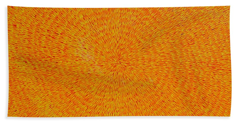 Abstract Bath Towel featuring the painting Su Gaia by Dean Triolo