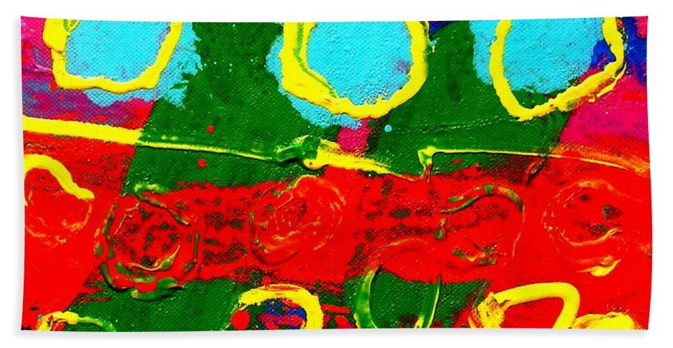 Abstract Bath Sheet featuring the painting Sub Aqua I - Triptych by John Nolan