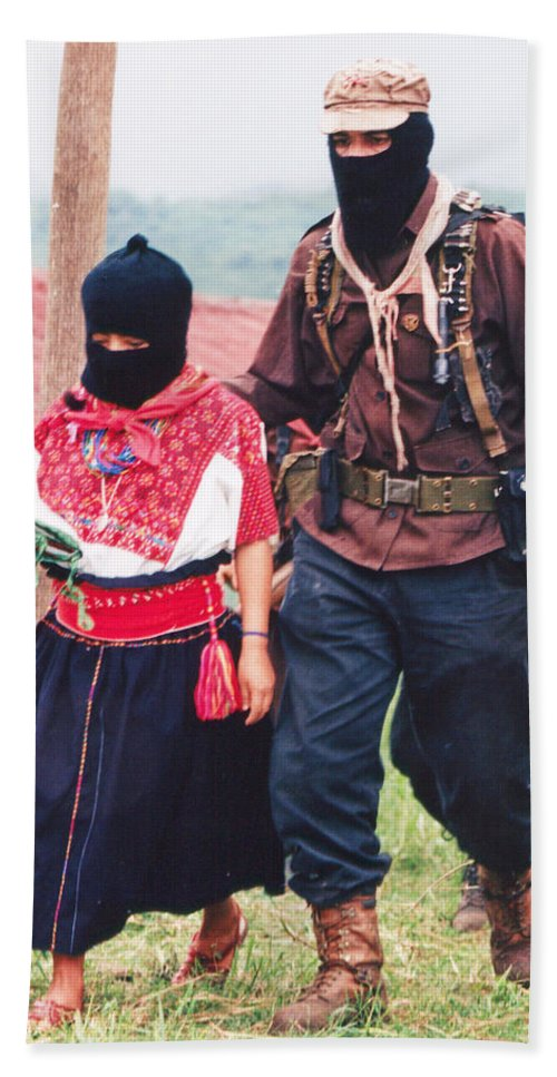 Zapatista Bath Sheet featuring the photograph Subcommandante Marcos And Ramona by Omar Shafey