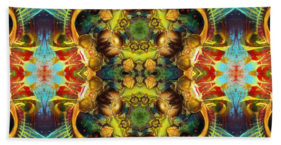 Abstract Bath Sheet featuring the painting Subconscious Sacred Scrolls by Georgiana Romanovna