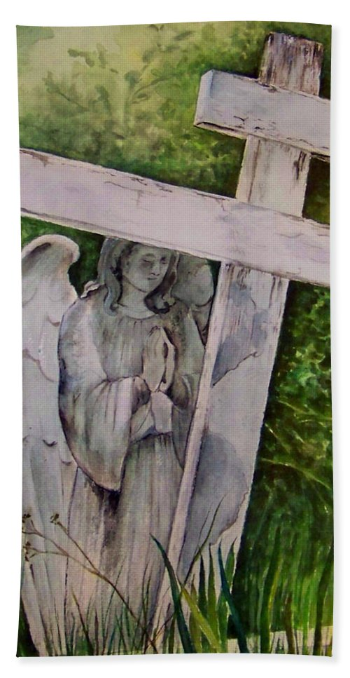Watercolor Bath Sheet featuring the painting Sublime Watcher by Brenda Owen