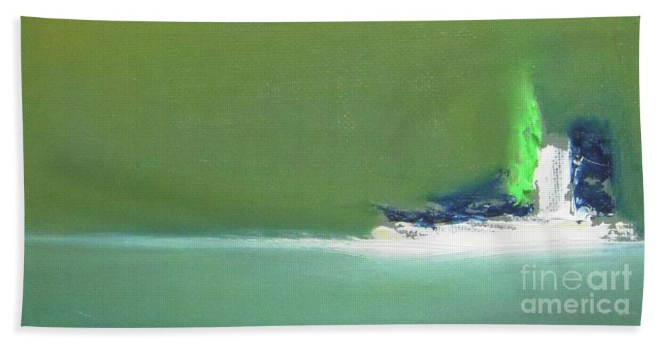 Abstract Bath Towel featuring the painting Submarine by Vesna Antic