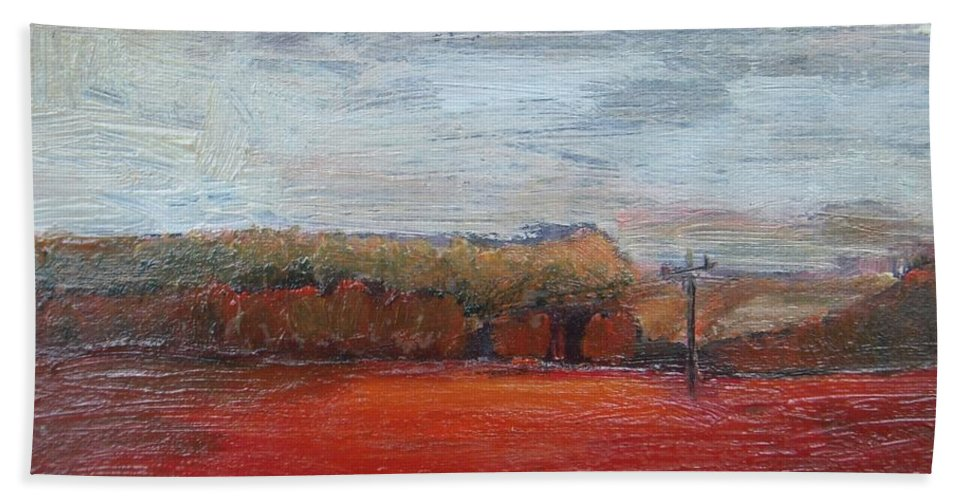 Landscape Bath Sheet featuring the painting Suburb In October by Vesna Antic