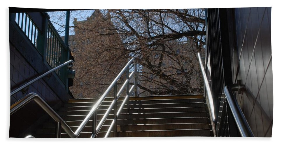 Street Scene Hand Towel featuring the photograph Subway Stairs by Rob Hans