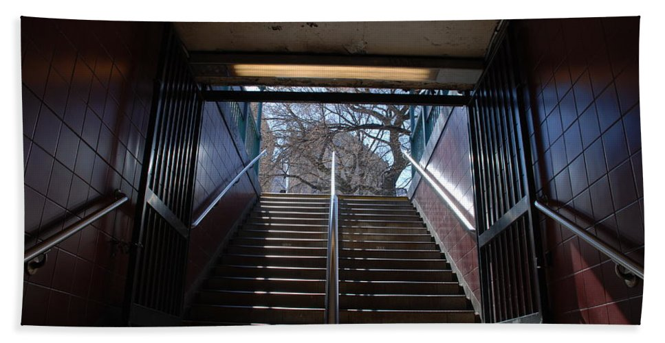 Pop Art Bath Sheet featuring the photograph Subway Stairs To Freedom by Rob Hans