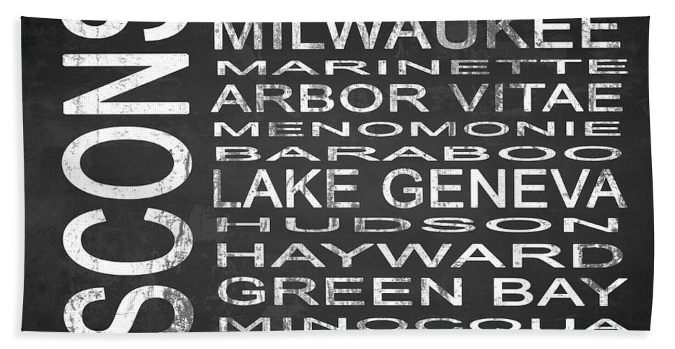 Subway Sign Bath Sheet featuring the digital art Subway Wisconsin State 2 Square by Melissa Smith