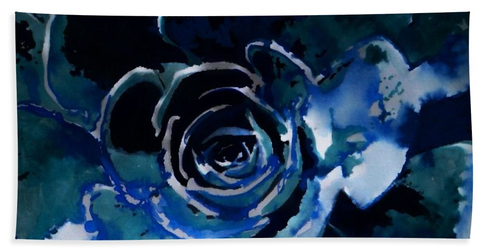 Flower Hand Towel featuring the painting Succulent In Blue by Lauren Lamb