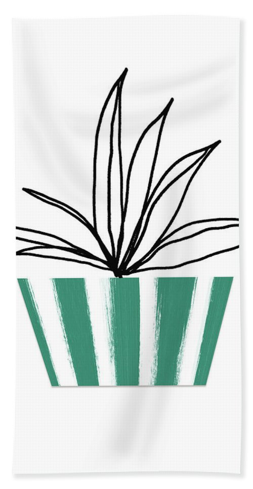 Plant Hand Towel featuring the mixed media Succulent In Green Pot 3- Art By Linda Woods by Linda Woods
